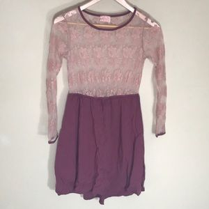 Audrey 3+1 lace dress mauve color